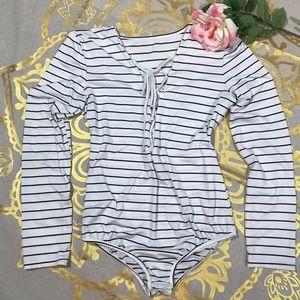 Tops - Striped Bodysuit Sz L (AA10)